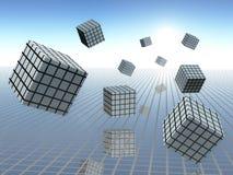 Grafici del cubo nel moto Immagini Stock