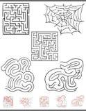 Grafici del gioco di svago del labirinto messi con le soluzioni Fotografia Stock