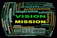 Grafici del testo di informazioni di MISSIONE di VISIONE e concetto di disposizione Fotografie Stock Libere da Diritti