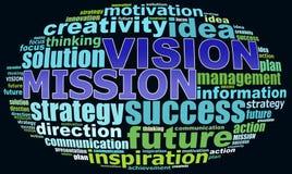 Grafici del testo di VISIONE MISION Info Fotografia Stock Libera da Diritti