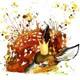 Grafici della maglietta dei cervi di principe, illustrazione dei cervi con il wate della spruzzata Immagini Stock