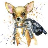 Grafici della maglietta del cane del terrier di giocattolo l'illustrazione del cane del terrier di giocattolo con l'acquerello de illustrazione vettoriale