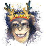 Grafici della maglietta del nuovo anno della scimmia monkey l'illustrazione di anno con il fondo strutturato acquerello della spr Fotografia Stock Libera da Diritti