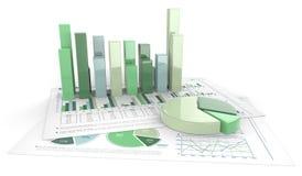 Grafici di affari 3D Fotografia Stock Libera da Diritti