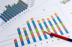 Grafici di affari e grafico e matita Immagine Stock Libera da Diritti