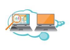 Grafici di analisi dei dati di seo del sito Web sullo schermo del PC illustrazione vettoriale