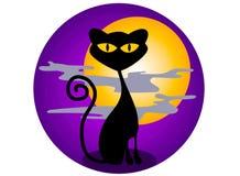 Grafici di Halloween del gatto nero Fotografie Stock Libere da Diritti