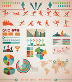 Grafici di informazioni dei giochi degli sport invernali Fotografia Stock