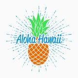 Grafici di tipografia di Aloha Hawaii per la maglietta con l'ananas e la progettazione d'annata dello sprazzo di sole per i vesti Fotografie Stock Libere da Diritti