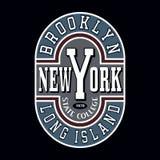 Grafici di tipografia della maglietta delle state college di Brooklyn Fotografie Stock Libere da Diritti