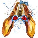 Grafici divertenti della maglietta del cane Illustrazione del cane con il fondo strutturato dell'acquerello della spruzzata royalty illustrazione gratis