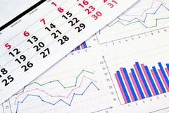 Grafici e calendario Immagini Stock