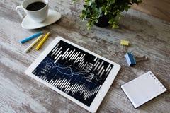 Grafici e grafici finanziari sullo schermo Commercio del mercato azionario e dei forex Ritorno su investimento immagini stock