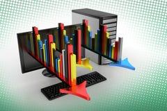 Grafici e frecce dal computer nel semitono Fotografia Stock