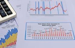 Grafici e grafici di affari con il calcolatore Immagini Stock Libere da Diritti