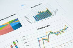 Grafici e grafico di affari Fotografia Stock