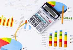 Grafici e numeri di affari Immagine Stock