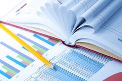 Grafici e taccuino statistici di finanze Fotografie Stock Libere da Diritti
