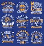 Grafici, emblemi ed insieme di tema atletici della disposizione Fotografie Stock Libere da Diritti