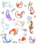 Grafici felici dei gattini messi Fotografia Stock Libera da Diritti
