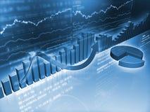 Grafici finanziari con il grafico a settori Immagine Stock