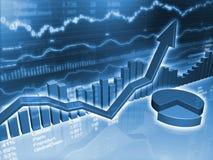 Grafici finanziari con il grafico a settori illustrazione di stock