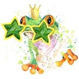 grafici freschi della maglietta della rana l'illustrazione della rana verde con l'acquerello della spruzzata ha strutturato il fo illustrazione vettoriale