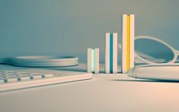 Grafici gialli blu di affari Fotografia Stock