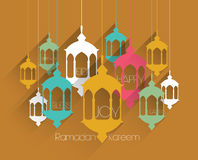 Grafici musulmani piani della lampada a olio di vettore Fotografie Stock Libere da Diritti
