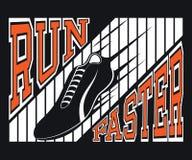 Grafici più veloci di tipografia della maglietta di funzionamento, vettore Fotografia Stock