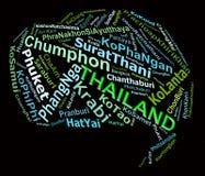 Grafici turistici del testo delle destinazioni Info della TAILANDIA Immagine Stock Libera da Diritti