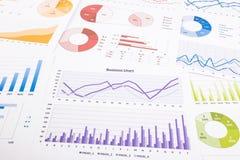 Grafici variopinti, analisi dei dati, ricerca di mercato ed annuale con riferimento a Fotografia Stock Libera da Diritti
