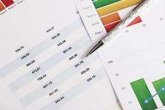 Grafici variopinti e numeri su economia e sull'affare con una penna Immagini Stock