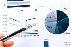 Grafici variopinti, grafici, ricerca di mercato e fondo del rapporto annuale di affari, progetto della gestione, pianificazione d Fotografie Stock Libere da Diritti