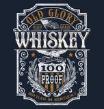 Grafico americana d'annata della maglietta dell'etichetta del whiskey Fotografie Stock