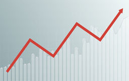 Grafico astratto di affari con grafico lineare, istogramma e frecce di uptrend nel mercato azionario sul fondo grigio di colore d Fotografie Stock