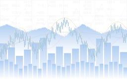 Grafico astratto di affari con grafico lineare, istogramma e numeri di riserva di tendenza sul fondo bianco di colore Immagini Stock Libere da Diritti