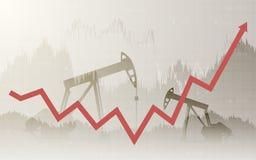 Grafico astratto di affari con le pompe di olio e le frecce alte nel mercato azionario sul fondo grigio di colore di pendenza Immagini Stock Libere da Diritti