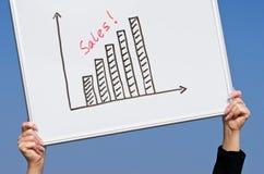 Grafico aumentante di vendite Fotografie Stock Libere da Diritti