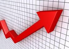 Grafico in aumento con la griglia Immagini Stock Libere da Diritti