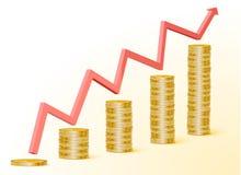 Grafico in aumento con le monete di oro Fotografie Stock Libere da Diritti