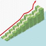Grafico in aumento e soldi Immagini Stock