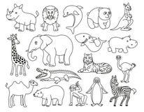 Grafico in bianco e nero degli animali selvatici nella linea stile Fotografia Stock