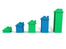 Grafico blu & verde della casa 3D Fotografie Stock Libere da Diritti