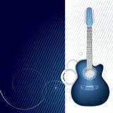 Grafico blu di disegno della chitarra Fotografia Stock