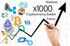 Grafico che mostra l'impulso di prezzi di cryptocurrency Immagine Stock Libera da Diritti
