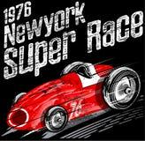 Grafico classico d'annata americano della maglietta dell'uomo della corsa di automobile retro royalty illustrazione gratis