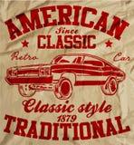 Grafico classico d'annata Desig della maglietta dell'uomo della vecchia automobile americana retro illustrazione vettoriale