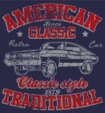 Grafico classico d'annata Desig della maglietta dell'uomo della vecchia automobile americana retro royalty illustrazione gratis