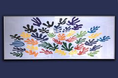 Grafico colourful di arte del ritaglio nell'umore blu fotografie stock libere da diritti